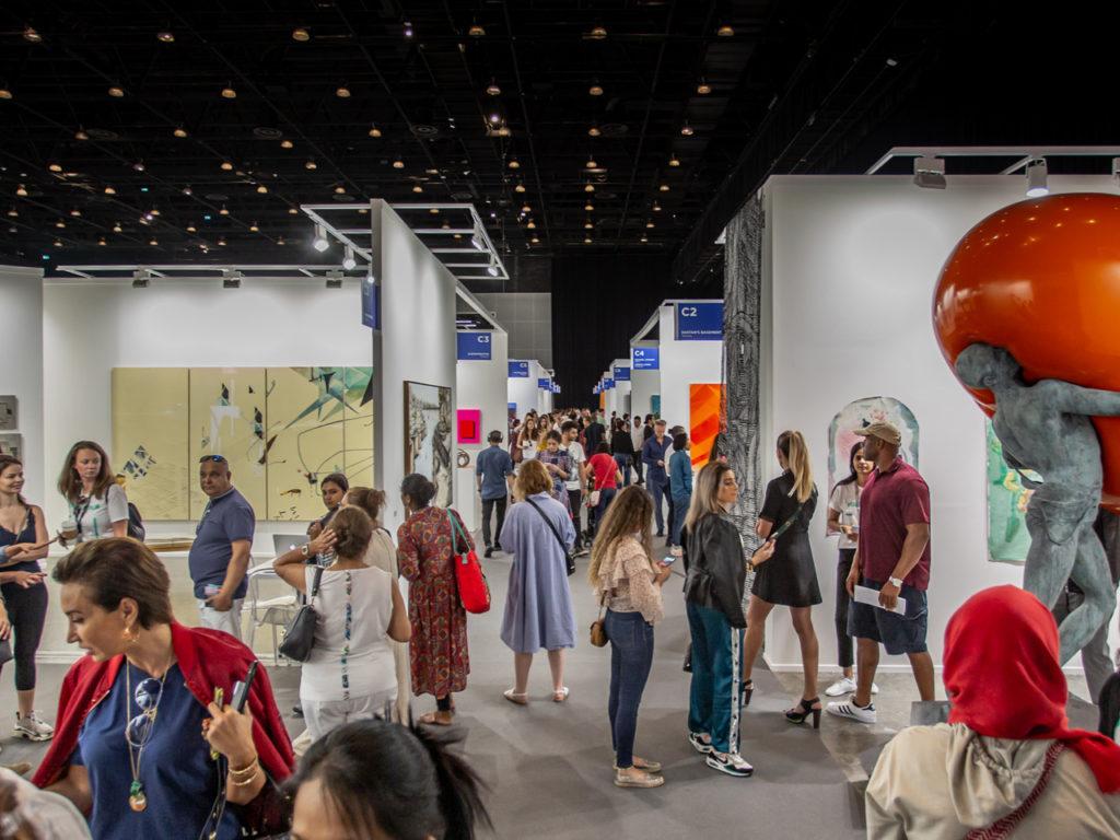 People attending Art Dubai in 2020